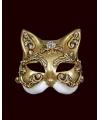 Venetiaanse maskers kat goud wit