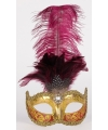 Venetiaanse oogmaskers met bordeaux veren